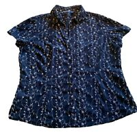 IZOD Womens Navy/white Eyelet Blouse Top Size XL collared button front