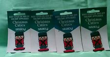 4 Christmas Cuties by Stacy Holiday Appliques Stick on and Off Toy Soldier
