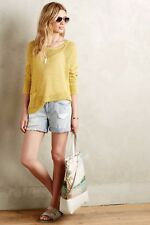 ANTHROPOLOGIE SPARROW WOMENS YELLOW RIBBED LINEN PULLOVER W/ POCKET SIZE MEDIUM