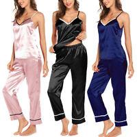Women's Silk Pajama Long Pants & Sleeveless Tops Set/2 Piece Pajamas Sleepwear