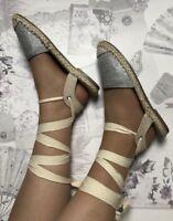 Silver Beige espadrilles Size 3 Flat Summer Gladiator Metallic Holiday
