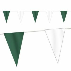 Wimpelkette Stoff, grün/weiß, 10 Meter, Girlande, Schützenfest, 26 Wimpel