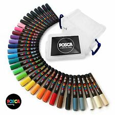Uni Posca PC-5M Paint Markers - Full Range Set of 33 in Plastic Posca Tub