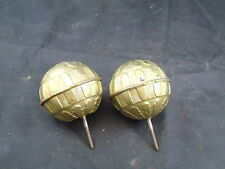 2 Vintage Metal Brass Curtain Rod Finials Round Rod Pole Dowl Antique
