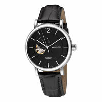 Ray Winton Men's WI0605 Automatic Analog Black Dial Black Genuine Leather Watch
