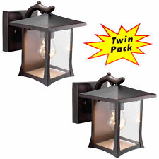 Black Outdoor Patio / Porch Exterior Light Fixtures Twin Pack #73474
