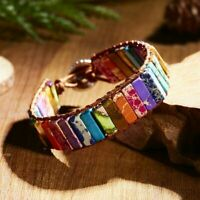 Womens Chakra Bracelet Natural Stone Tube Beads Leather Wrap Bangle Jewellery