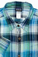 Patagonia 100% Organic Cotton Button Front Shirt Short Sleeve Green Blue Plaid