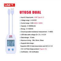 UNI-T Digital USB Tester Power Capacity Volt Amp Energy Detector Meter UT658DUAL