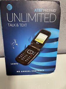 AT&T LG B470 prepaid unlimited talk & text flip phone black no contract open box