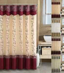 VCNY Daphne Embroidered Sheer & Taffeta Fabric Shower Curtain - Assorted Colors