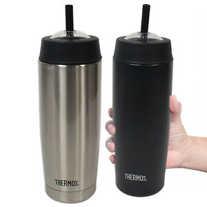Thermos Cold Cup Stainless Steel Black Insulated Travel Bottle Drinks Sports Mug