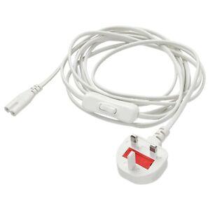 Power supply cord  3.5 M LONG Plastic PVC WHITE FORNIMMA IKEA