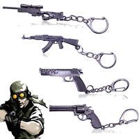 Revolver Pistol Sniper Rifle Weapon Gun Model Metal Keychain Mini Key Ring