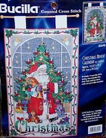 "Bucilla Vintage SANTA ""CHRISTMAS ADVENT CALENDAR WITH CHARMS"" CCS Kit Tree 83698"