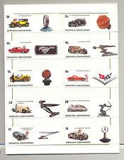 Grenada (Grenadines) #544-554 Classic Automobiles 10v & 1v S/S Imperf Proofs