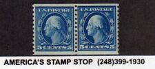 1914 Us Sc 447 5c Washington Coil Pasteup Pair, Mnh Mint Nh Vf+, Color Range*