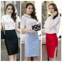 Women Office OL Bodycon Solid Slim Stretch Split Package Hip Pencil Skirt S-5XL