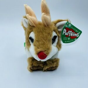 """SWIBCO Puffkins RUDY the Reindeer Ltd Ed Christmas Plush 5"""" with Tags Bells"""