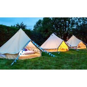 3M Waterproof Canvas Bell Tent Glamping Camping Beach Hunting Family Tent Yurt