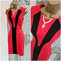 Peacocks 💋 Sexy Red & Black Panel Stretch Pencil Wiggle Dress UK 10 Valentine