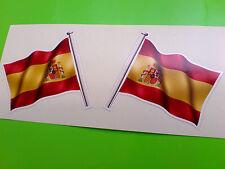 España Wavey Bandera Moto Casco van Car Bumper Stickers Calcomanías 2 Off 60mm