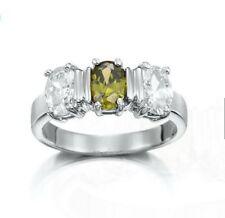 WHITE GOLD LAYERED SIMULATED DARK GREEN DIAMOND RING DRESS US SIZE 8 Au P 1/2