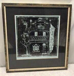 1967 Framed Doreen Folkerts Signed Lino Print