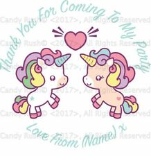 24 Personalised Unicorn Twins Birthday Party Thank You Stickers Sweet Cones Bags
