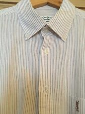 "Yves Sant Laurent YSL Men's White  Pin Stripe Short Sleeve Shirt - 40"" Chest"