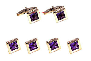 Natural Amethyst Gemstone With 925 Sterling Silver Tuxedo Buttons with Cufflinks