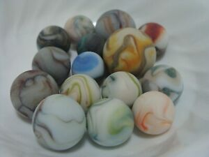 15 Fun Colorful Frosted Matte Finish Swirl Marbles Orange Baby Blue Red Sweet