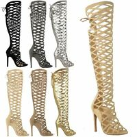 LADIES WOMENS CUT OUT LACE KNEE HIGH HEEL BOOTS GLADIATOR SANDALS STRAPPY SIZE