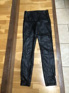 Zara Size M Black Faux Leather Leggings Side Zip And Zip At Hem