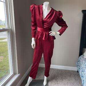 Vintage 70's Disco Burgundy Puff Sleeve Velvet Peplum Jumpsuit Romper belted S M