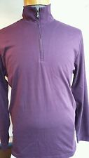Men's zip polo shirt LINCS DC&CO Long sleeves sueded cotton M purple plum solid