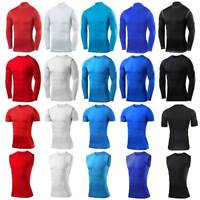 Mens Compression Top Activewear Gym Workout Shirt Base Layers Bodybuilding Tight