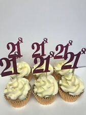21st BIRTHDAY OR ANNIVERSARY GLITTER PINK CUP CAKE TOPPERS X 12