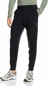 Asics Men's Woven Trousers Sports Running Trousers Zipped Pockets - Black - New