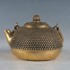 Old Chinese antique brass hand made teapot wine pot flagon