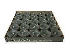 25 Teelichter Acryl Cup Anthrazit Nightlights 8 Std Brennd transparente Hülle