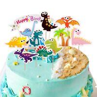Cartoon Dinosaur Cupcake Toppers Birthday Party Decoration Cake Flag d