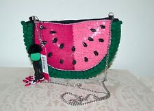 "NWT $48 SAM EDELMAN Watermelon ""Shelley"" Crossbody Black Multi Chain Strap"