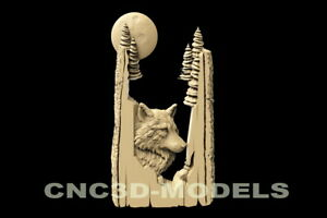 3D Model STL for CNC Router Carving Artcam Aspire Wolf Animal Tree Moon D120