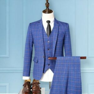 Men One Button Slim Spring Wedding Dress Formal Grid Jacket Vest Pants 3Pcs Suit
