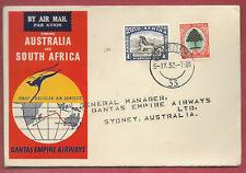 S Africa 1952 QANTAS EMPIRE AIRWAYS 1st Regular Air Mail 9 Sep to AUSTRALIA