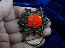 (#E572) Red flower daisy Eyeglass pin pendant ID badge holder