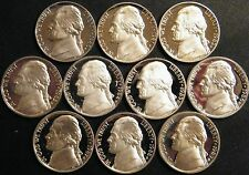 1980-1989 S Jefferson Nickel Gem Cameo Proof Set 10 Coin Decade US Mint Lot.