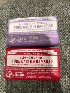Lot Of 2 Dr. Bronner's Pure-Castile Bar Soap, 1 Rose & 1 Lavender, 5oz. ea