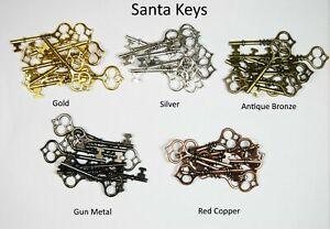 Santa Keys - Choice of Colour & Qty - Vintage Charm Steampunk Part Findings